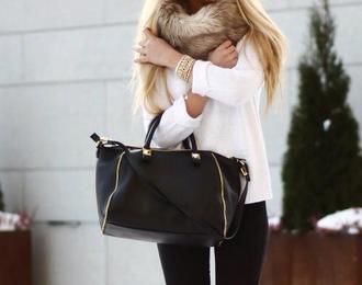 scarf fur bag handbag bracelets jeans pants blonde hair jewels fall outfits winter sweater fur scarf sweater black zip zipper detail black and gold