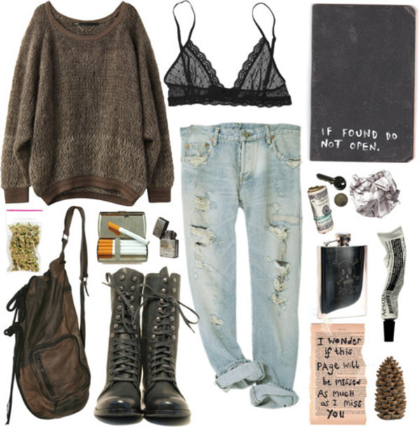 jeans polyvore bag sweater underwear shoes