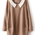 Khaki Contrast Collar Long Sleeve Pockets Dress - Sheinside.com
