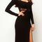 Black long sleeve sheer lace back slit bodycon dress - choies.com