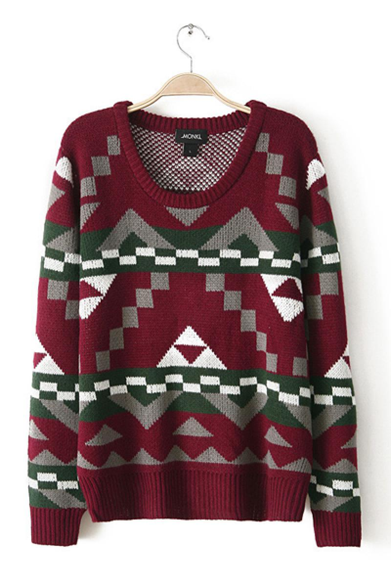 Fashion Loose Geometric Pattern Pullover All-match Knit Sweater,Cheap in Wendybox.com