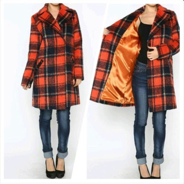 coat red plaid coat plaid coat