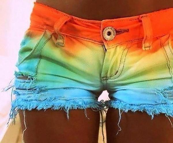 shorts rainbow denim