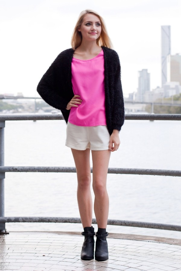 sweater black cardigan fluffy knit cute black cardigan fluffy cardigan pink t-shirt t-shirt white shorts