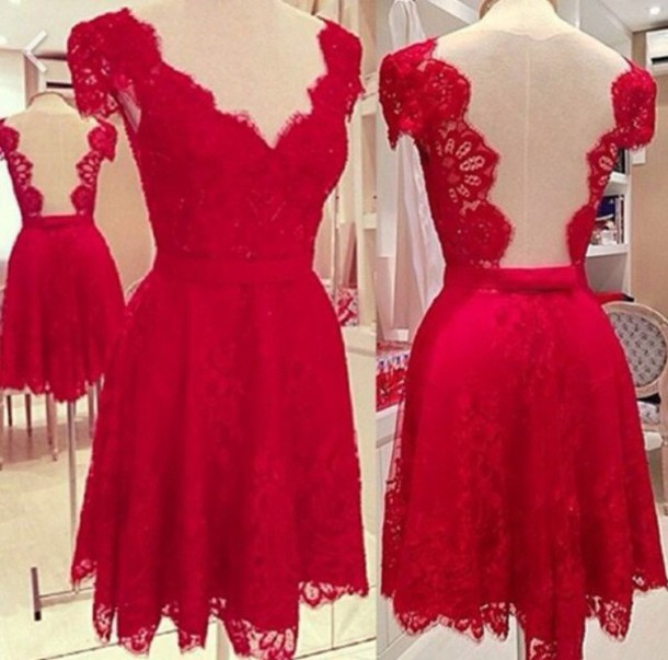dress backless red lace dress