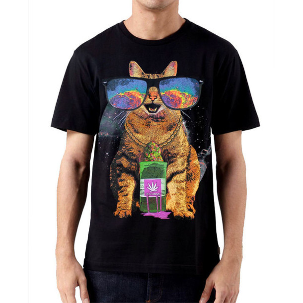 shirt cats stoner clothes mens t-shirt