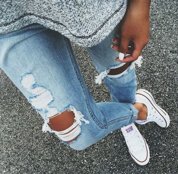 ripped jeans ripped jeans blue skinny jeans pants boyfriend jeans denim light blue jeans grey top grey t-shirt blue jeans converse white converse blue skinny jeans light blue boyfriend jeans jeans distressed denim
