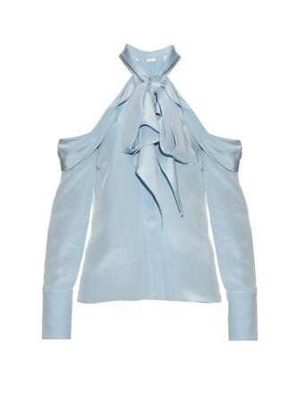 blouse light blue light blue top