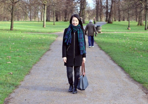 an odd girl blogger coat scarf shoes bag jeans