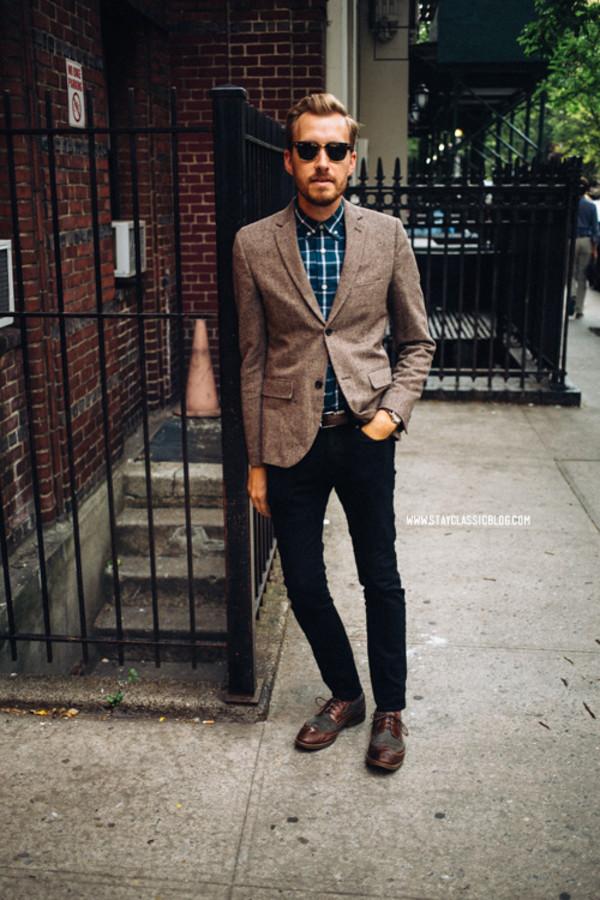 stay classic jacket jeans shoes belt jewels sunglasses shirt