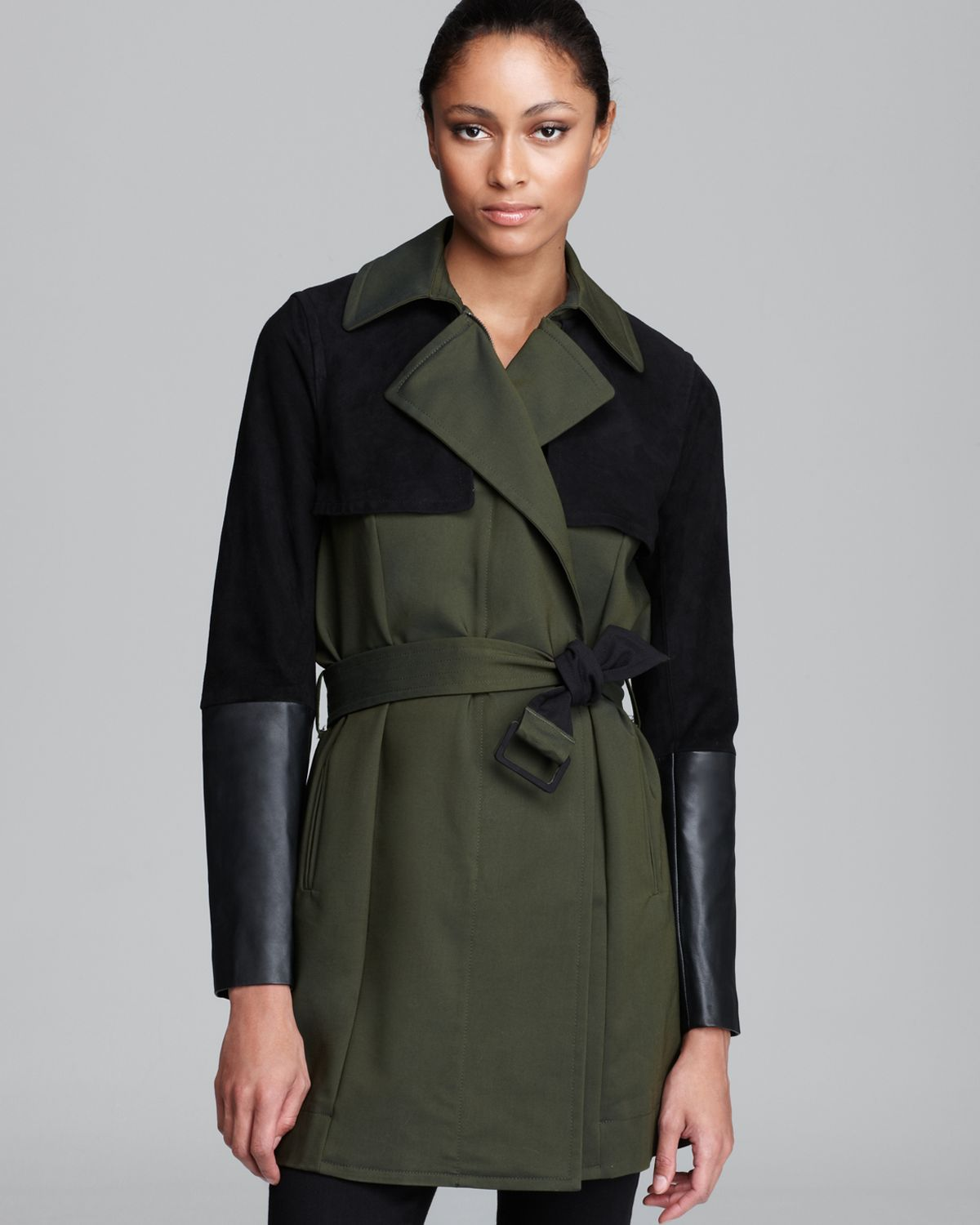 DKNYC Trench Coat with Faux Leather   Bloomingdale's