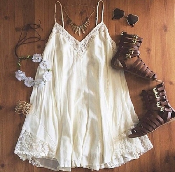 dress white lace dress summer dress beach dress shoes sunglasses jewels white dress white gladiators sandals bohemian dress ivory dress brand name hair accessory