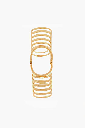 Dominic Jones Yellow Gold Nama Cage Ring for women | SSENSE