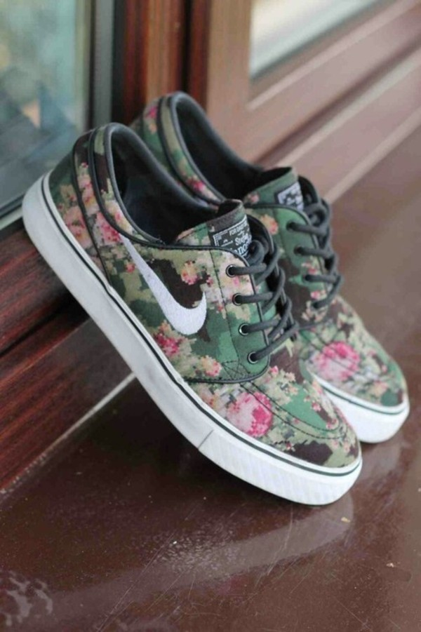 shoes flowers floral nike black white