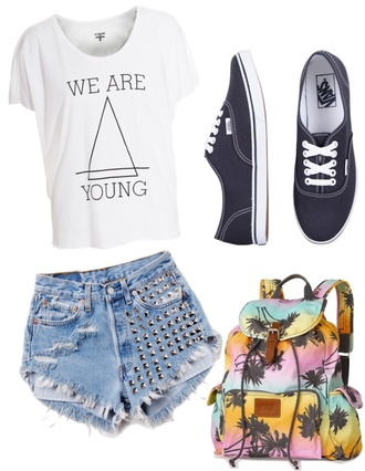 shirt we are young hipster bag vans studs palm tree print shorts colorful backpack blue pink yellow funny summer t-shirt young top crop tops jeans levi's vintage cool skateboard skater fashion teenagers
