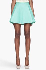 Balmain Mint Green Pleated Leather Skirt for women | SSENSE
