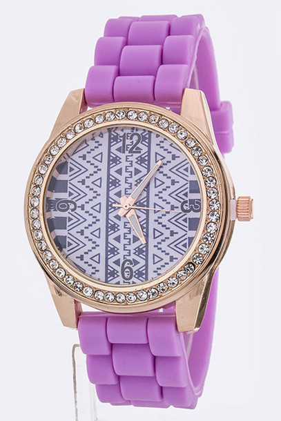 jewels tribal pattern watch spring summer outfits spring outfits neon purple watch purple tribal pattern aztec aztec watch trendy 2015 spring fashion cute cute watch accessories style