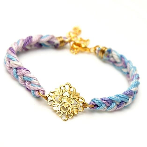Bracciali con nome - Friendship bracelet - rnament and yarn braid  - un prodotto unico di SheBijou su DaWanda