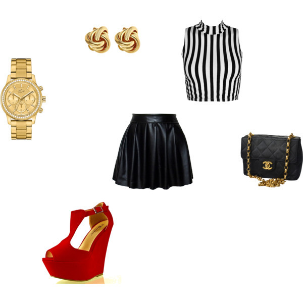 jewels black leather stripes half tops gold chanel birthday outfit watch earrings red wedges skirt shoes bag shirt