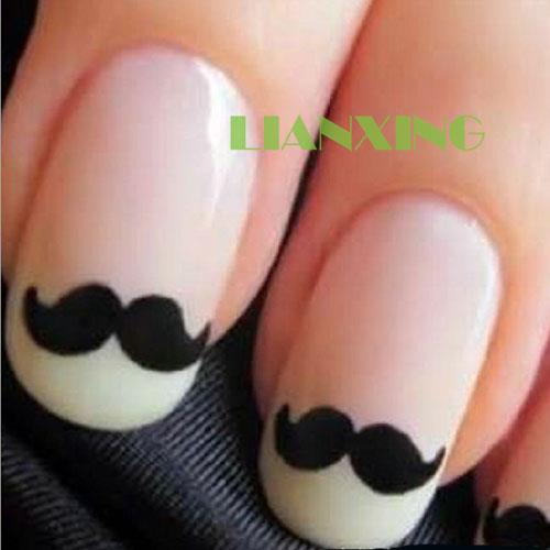 Black Moustache Water Transfer Nail Art Manicure Tips Paper Decals Stickers DIY | eBay