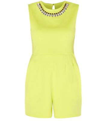 Parisian Neon Yellow Sleeveless Embellished Neck Playsuit