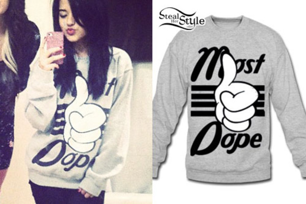 shirt sweatshirt dope dope mickey mouse hands thumbs up becky g jeans
