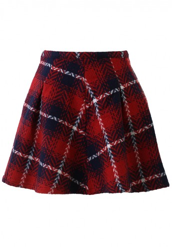 Tartan Twill Skater Skirt in Red - Retro, Indie and Unique Fashion