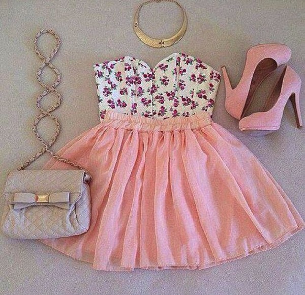 tank top pink peach skirt pink skirt pink shoes purse silver gold white floral purple floral tank top bag shoes shirt crop tops strapless dress