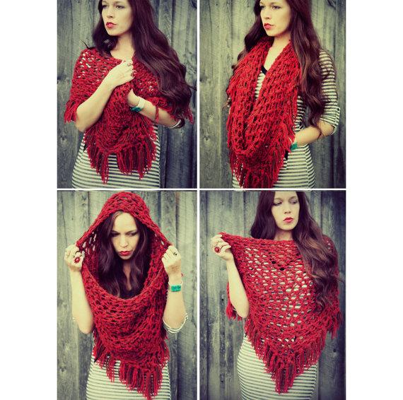Red Handmade Crocheted Fringed Hooded by GoldenHandsDesign on Etsy