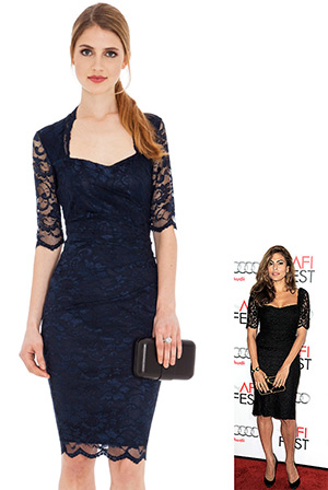 Lace Dress with Sweet-Heart Neckline in the style of Eva Mendez