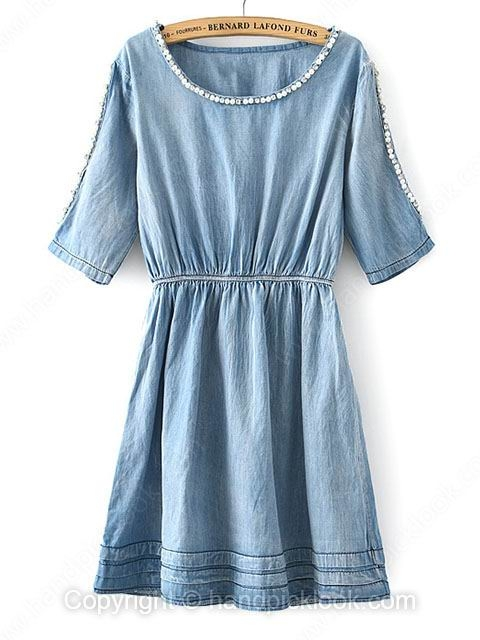 Blue Round Neck Short Sleeve Pearls Denim Dress - HandpickLook.com