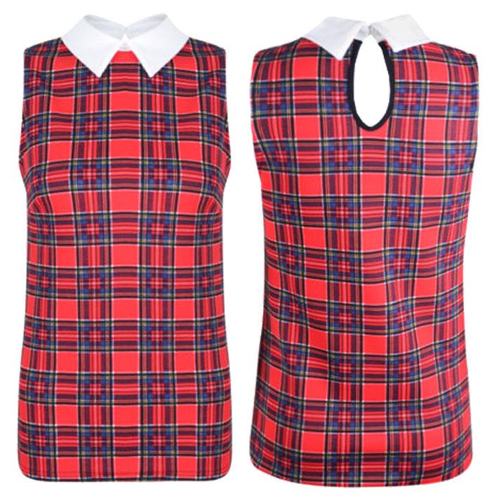 New Ladies Tartan Check Print Peter Pan Collar Womens Vest Shift Party Top | eBay