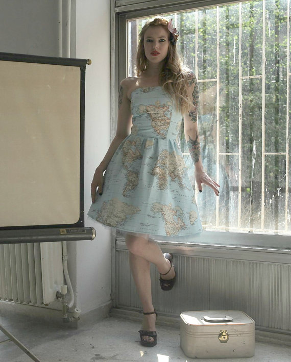 World Map Printed Strapless Cotton Summer Dress. by CruelCandy