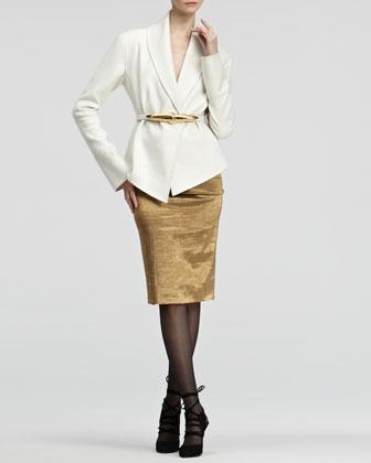 Donna Karan Metallic Pull-On Skirt - Neiman Marcus