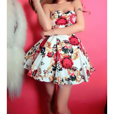Buy Fashion Clothing -  Floral Pattern Princess Retro Dress