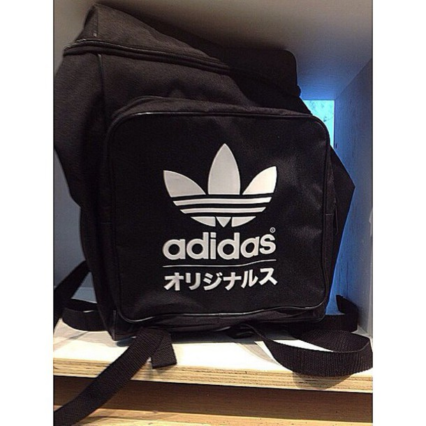 bag backpack addidas black and white pants white