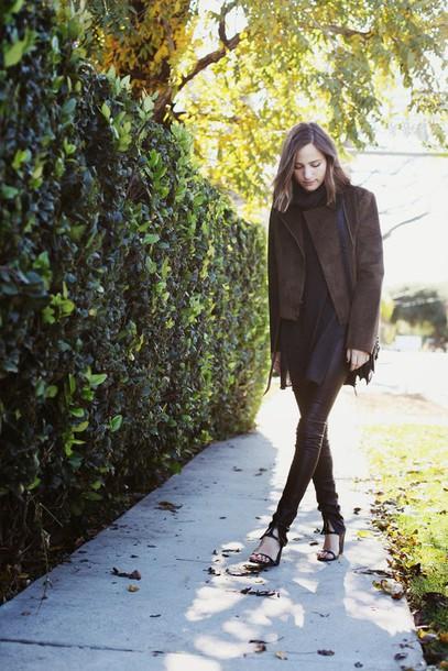 snakes nest blogger winter jacket brown jacket sweater pants bag shoes