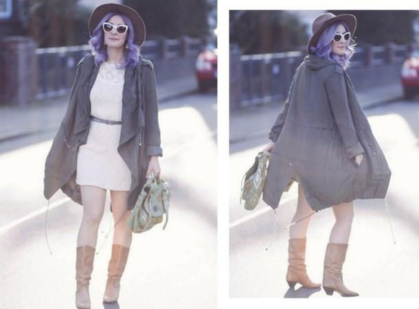 like a riot blogger hat jewels sunglasses dress coat belt bag shoes