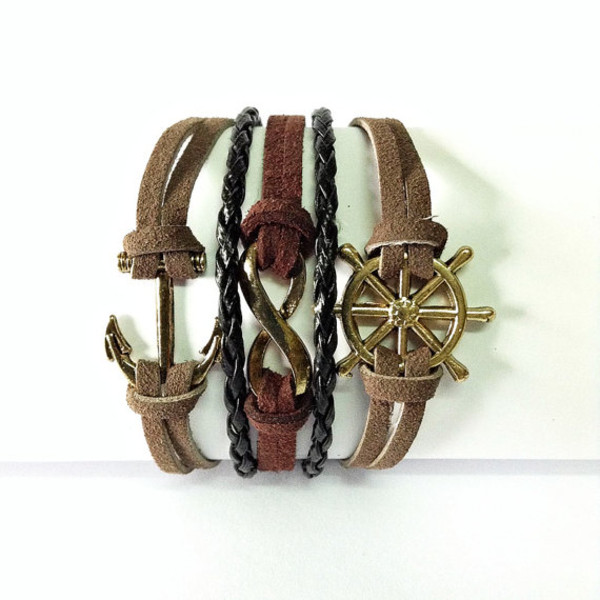 jewels anchor bracelet infinity bracelet nautical bracelet leather bracelet vintage style freeforme handmade