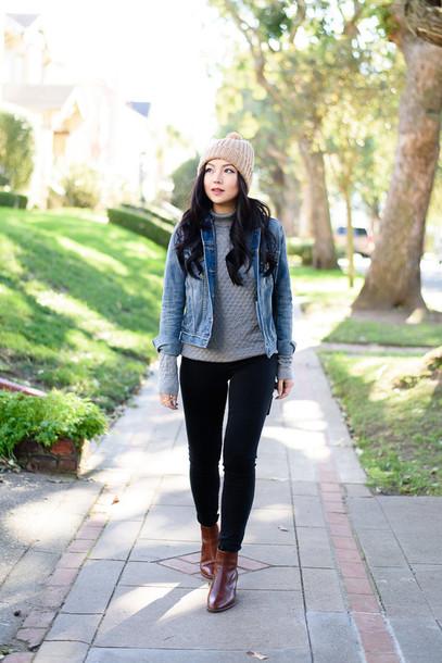 the fancy pants report blogger pom pom beanie grey sweater denim jacket