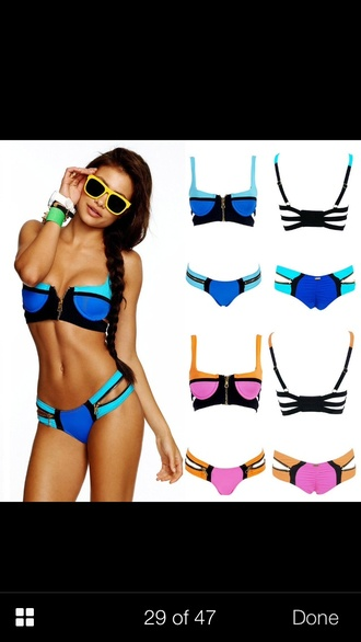 swimwear bandage bikini bikini blue swimwear zip