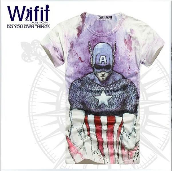 [Magic] 2014 Free shipping men t shirt Style3D High quality Cultivate Anime Captain America for men's T  shirt size M XXL-in T-Shirts from Apparel & Accessories on Aliexpress.com