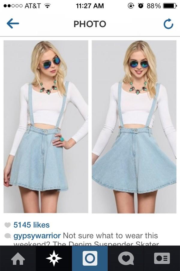 shirt blue jean skirt white crop tops skirt