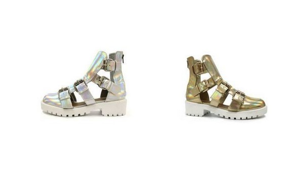shoes chunky sandals gladiators gold silver platform shoes