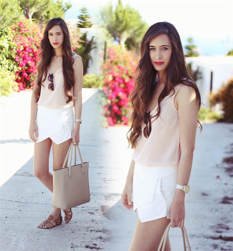 Women's Fashion Classic Pure Color Asymmetrical Chiffon Shorts Free Shipping!  - US$9.37