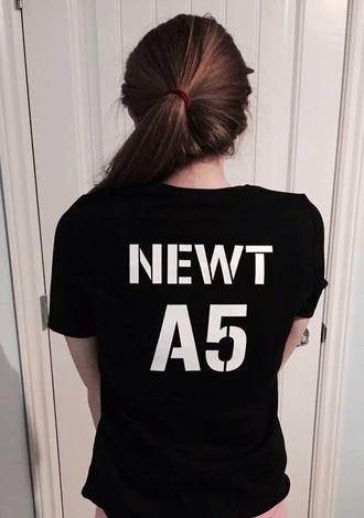 t-shirt black newt book movie maze runner