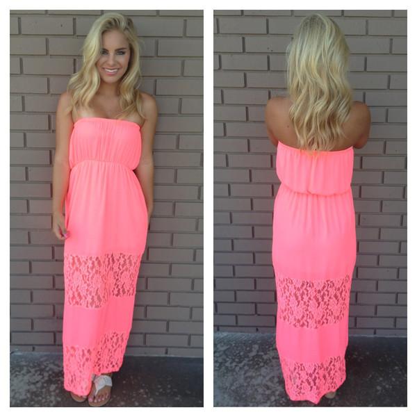 Keepsake Lace Strapless Maxi Dress - NEON PINK                             Dainty Hooligan Boutique