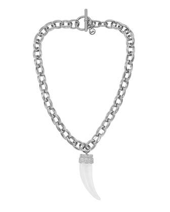 Michael Kors Chain-Link Tusk Pendant Necklace, Silver Color - Michael Kors