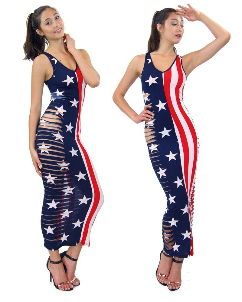 Popular Slashed Destroyed Side Cutted Patriot American Flag Printed Maxi Dress   eBay