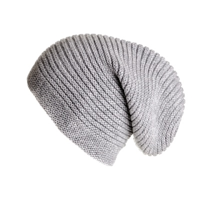 Slouch Beanie Hat, Grey Cashmere Slouch Beanie